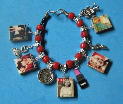 """MARILYN MONROE""-   BEADED SLIDER CHARM BRACELET"