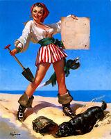 Pirate Pin Up Girl  - Vintage Art Print Poster - A1 A2 A3 A4 A5