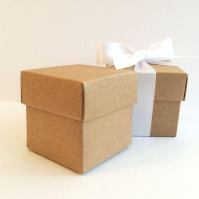 *Finest on Ebay, Lined & Pre-Glued!* LUXURY BROWN KRAFT WEDDING FAVOUR BOX & LID