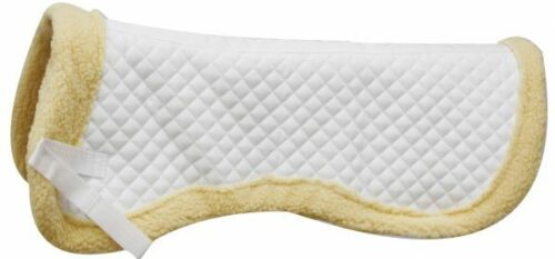 ENGLISH SADDLE HORSE PAD WHITE QUILTED ENGLISH WITHER RELIEF HALF PAD