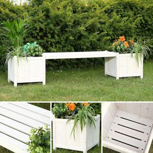 Panchina da giardino con 2 porta vasi legno Panca con Cassette fiori ...