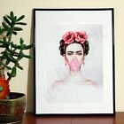 Frida Kahlo Painting Bubble Gum Pink Floral  - A3 A4 - FREE Shipping - WZA