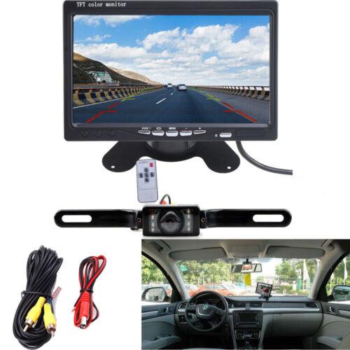 """Car 7/"""" LCD Rear View Monitor Night Vision Reverse Backup Waterproof Camera kit"""