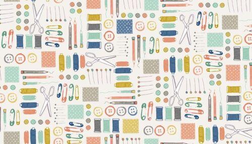 Handmade by Makower Fabric Sashiko Cotton Reels Safety Pins Buttons Scissors