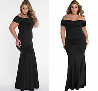 Ladies Black Plus Size Off Shoulder Fishtail Maxi Dress Prom Gown Evening 16 18