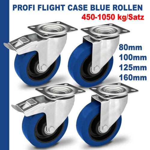 BLUE Transportrollen Lenkrollen Schwerlastrollen Blau Wheel 80 100 125 160 mm