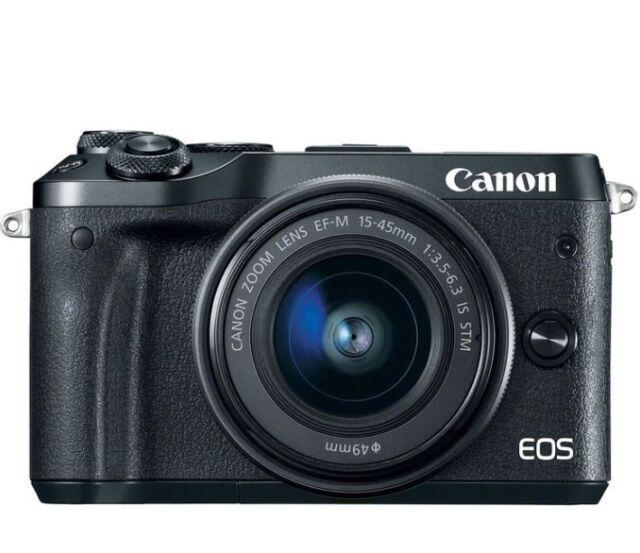 Canon EOS M6 24.2MP Digital Camera - Black (Kit w/ EF-M 15-45mm Lens)