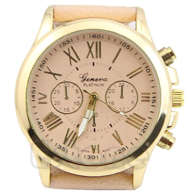 Women Geneva Roman Numerals Analog Faux Leather Chic Stylish Quartz Wrist Watch