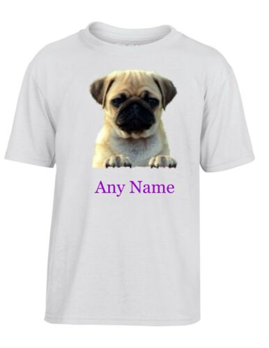 Personalised PUG Kids//Child/'s White Polyester T Shirt *Choice of name colour*