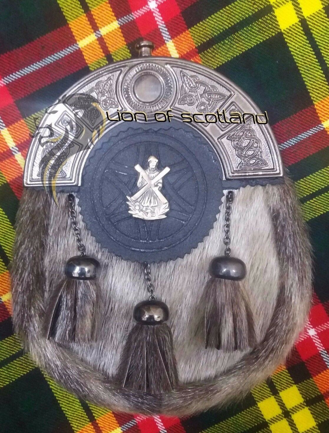 SH Scottish Dress Leather Kilt Sporran Seal Skin Celtic Cantle Antique ST Andrew