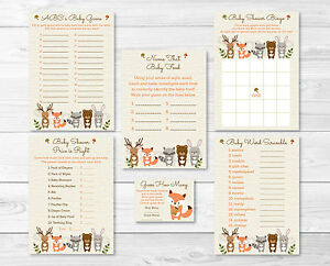 8 Printable Games Pink Woodland Forest Animals Baby Shower Games Pack