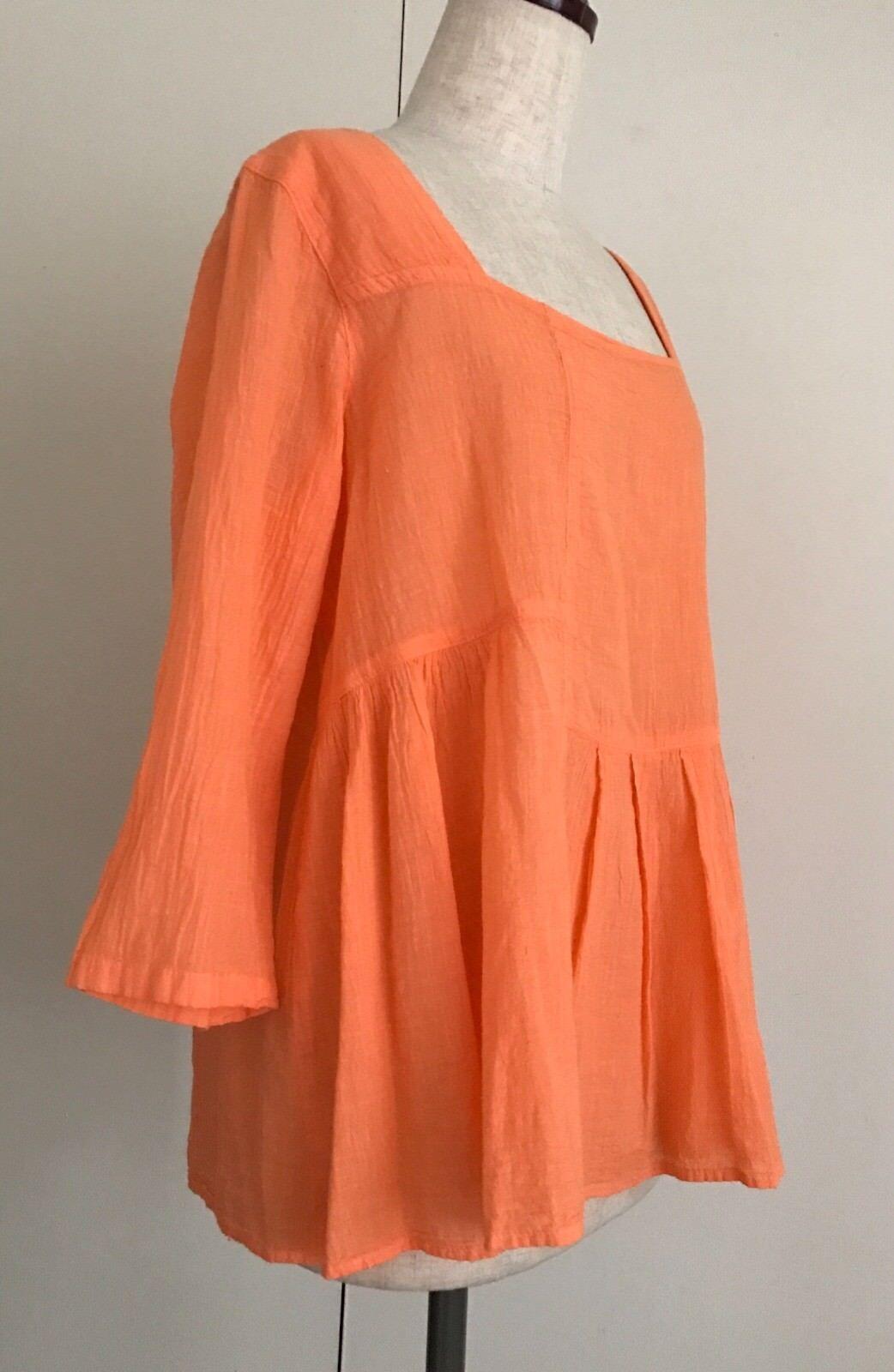 Sorbete de  Naranja Color Gasa Top Algodón Natural Muy Cómodo Y Lindo   ¡No dudes! ¡Compra ahora!