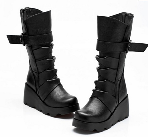 WomensMid Calf Boots Casual Platform Wedge Hidden Casual Shoes Shoes Punk Black