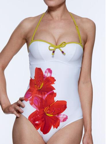 Lepel Umwerfend Lilie Badeanzug Kostüm Weiß mit Blume Neu mit Etikett