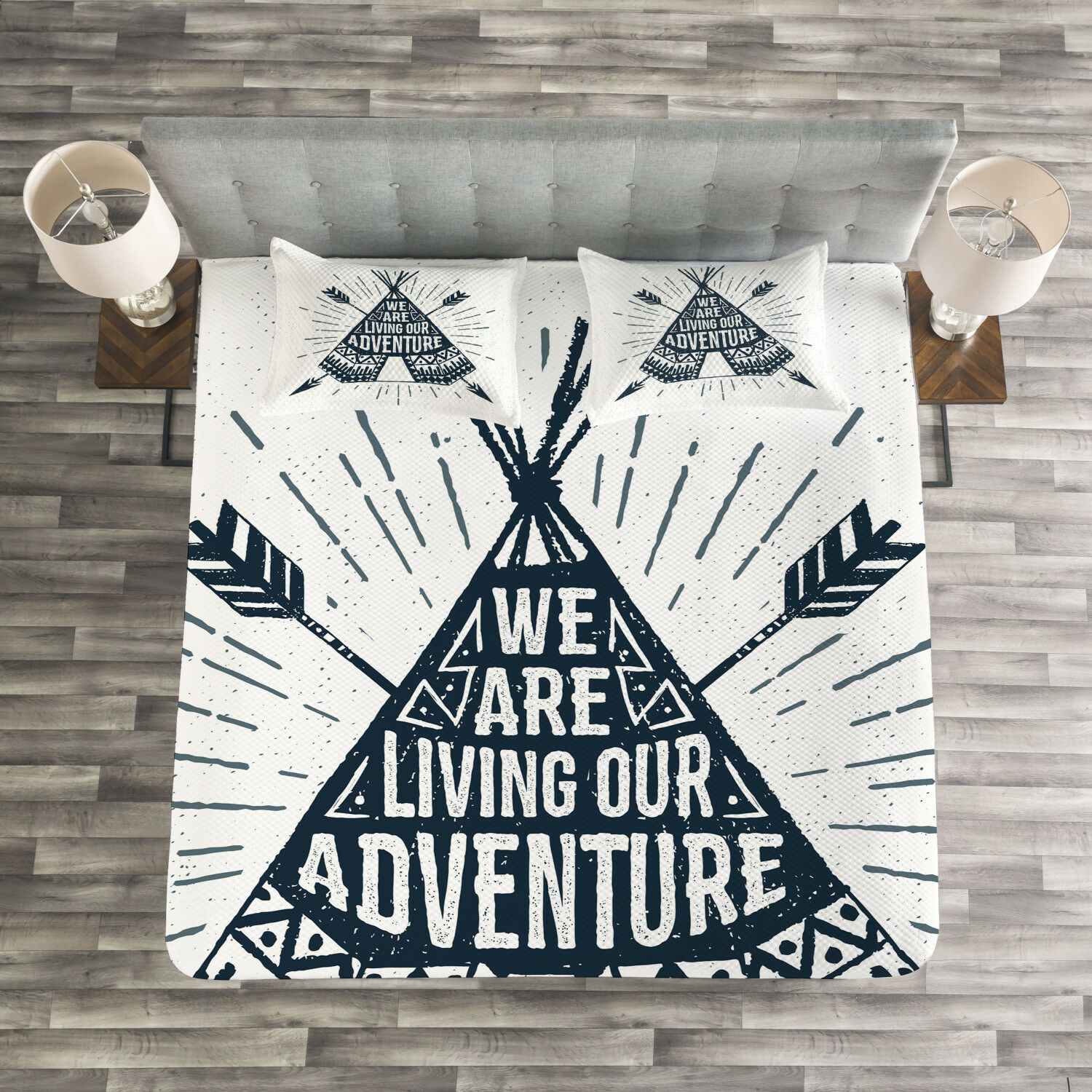 Adventure Quilted Bedspread & Pillow Shams Set, Teepee with Arrows Print