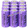 12x 3.7V CR123A 123A CR123 16340 2300mAh Purple GTL Rechargeable Battery Cell
