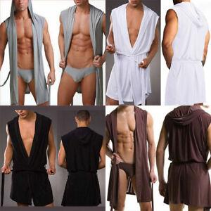 Mens-Superthin-Hooded-Gown-Soft-Sleepwear-Pajamas-Sleeveless-Long-Sleeping-Shirt