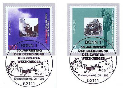 Brd 1995: Kriegsende! Blockmarken Nr .1794+1795! Bonner Sonderstempel! 1a! 1906