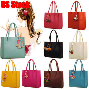 c58bc5d309f0 Details about New Women PU Leather Handbag Ladies Casual Shoulder Bags Tote  Purse Candy Color