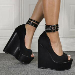 Womens-Super-High-Wedge-Heels-Peep-Toe-Sandals-Buckle-Strappy-Thick-Bottom-Shoes