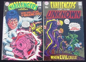 CHALLENGERS-OF-THE-UNKNOWN-Lot-63-amp-71-Walking-Evil-DC-1968-69-7-5-VF