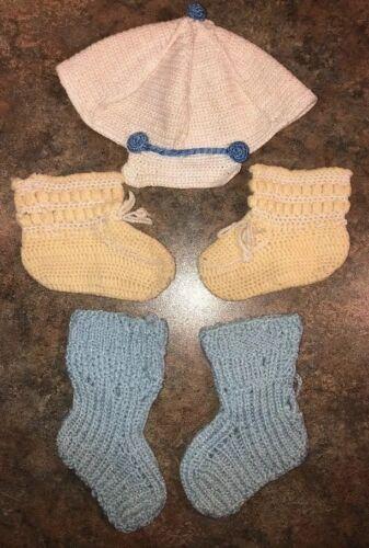 Baby Boy Vintage Hat Booties Crochet Handmade Lot