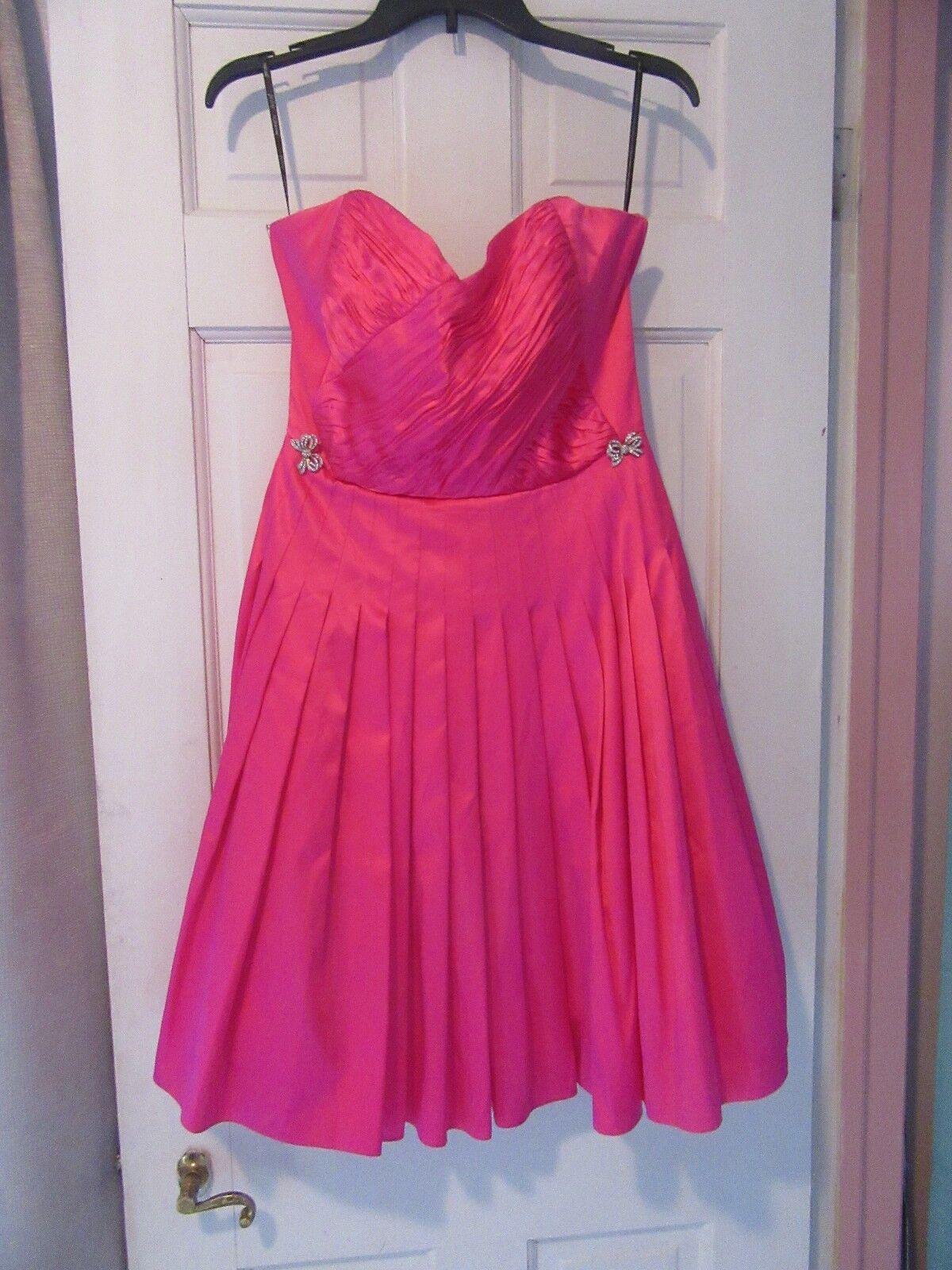 Betsey Johnson Silk Strapless Pink Rhinestone Bows Petticoat Dress Size 8