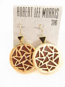 0ca63ae86 Robert Lee Morris SOHO Gold-Tone Brown Leather Geometric Cutout Drop ...