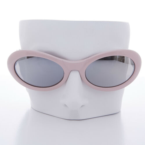 Lanie Curved Oval Vintage Sunglass 90s Grunge Pink Frame with Mirror Lens
