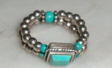 Silpada Sterling Silver Bead & Turquoise Stretch Ring R1197 Size 6-10 THAILAND
