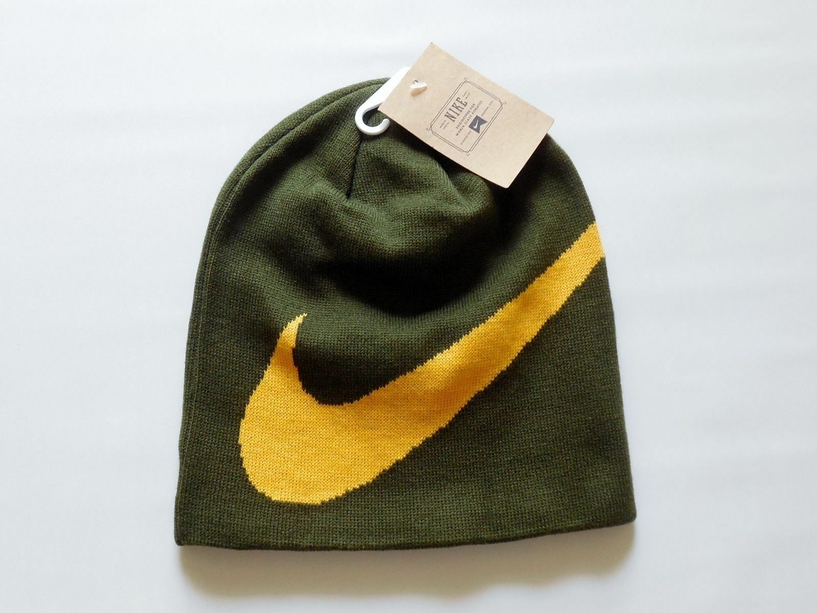 40654ec8d NEW Nike Wrap Beanie Hat Green Yellow Cap 579445 384 Skateboarding  Snowboarding