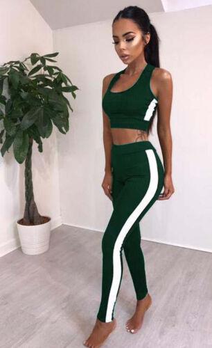 Womens Sport Gym Yoga 2 Pcs Vest Bra Sports Legging Pants suit Tops Outfit Set l