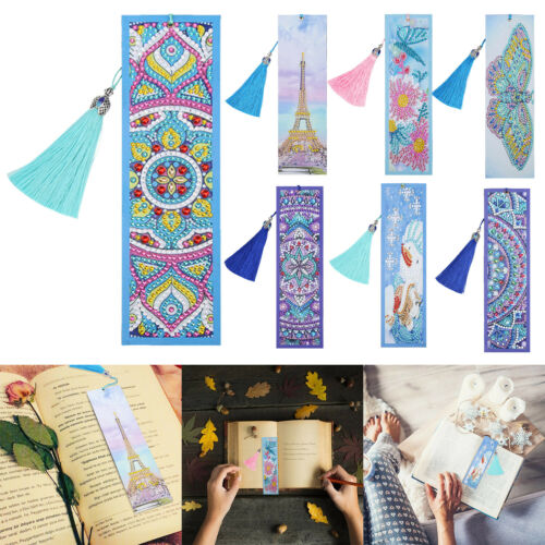 DIY Special Shaped Diamond Painting Creative Tassel Book Marks Leather Bookmark