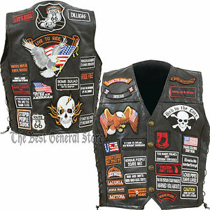 Biker Vest Patches >> Mens Black Leather Motorcycle Vest With 42 Biker Patches Lace Up