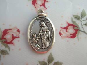 Vintage-Catholic-Medal-ST-ELIZABETH-amp-ST-LOUIS-1950-039-s-silver-finish-metal