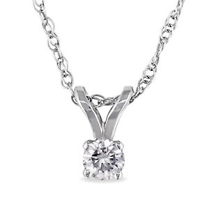 Amour 14k Gold 1/10ct TDW Diamond Solitaire Necklace (J-K I2-I3)