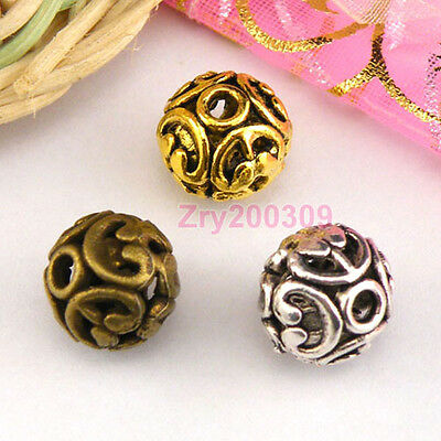 10Pcs Tibetan Silver,Gold,Bronze Hollow Filigree Round Spacer Beads M1359