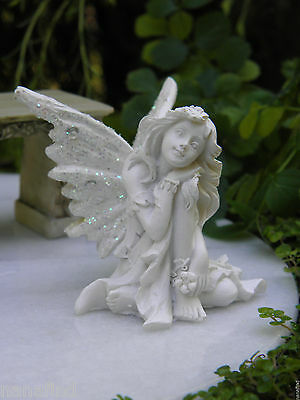 Miniature Dollhouse FAIRY GARDEN ~ White Glitter DREAM Sparkle Stone Fairy ~ NEW