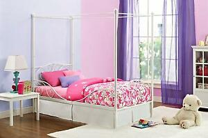 Metal Twin Canopy Bed Frame Bedroom Furniture Girls Princess ...