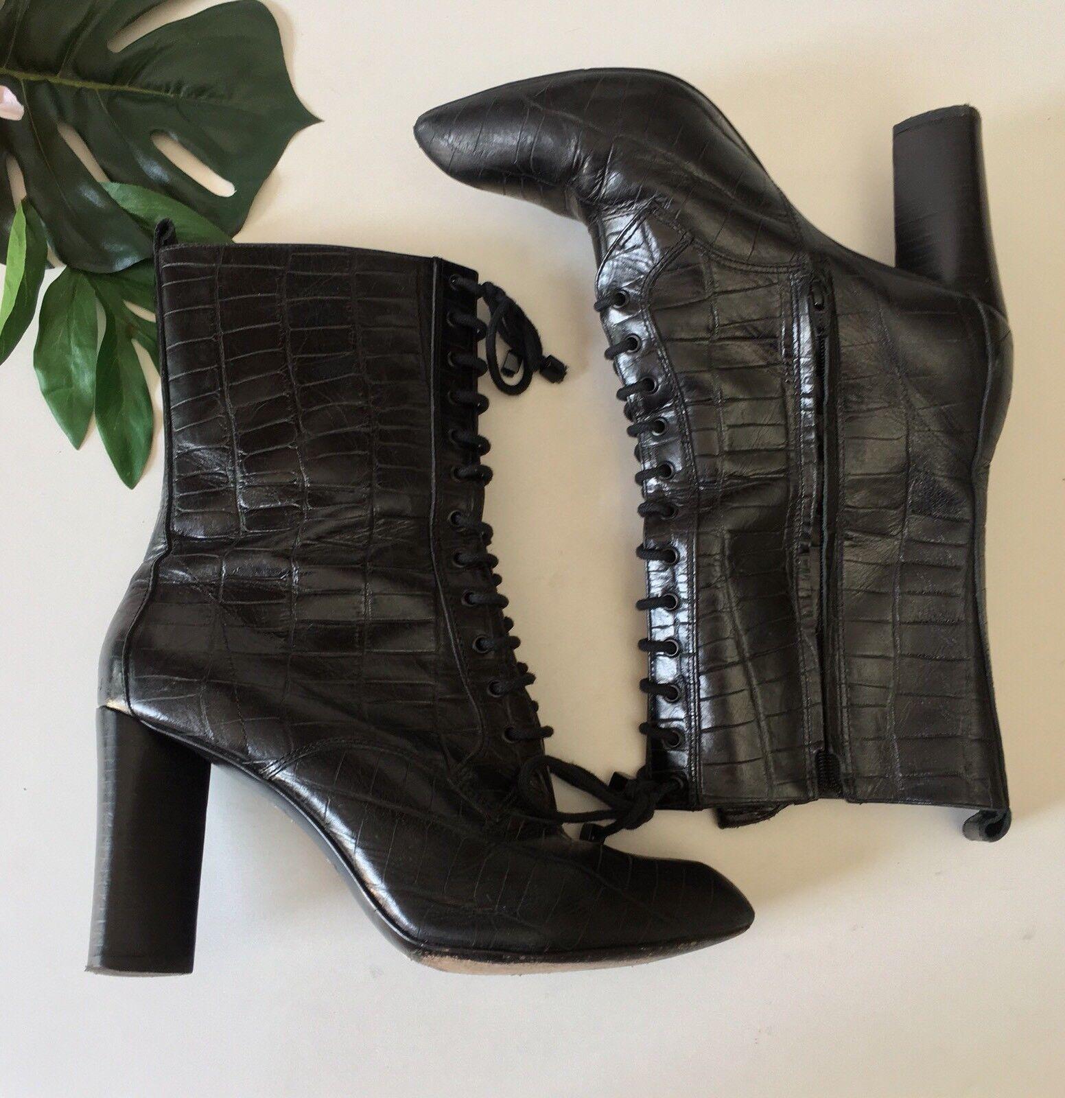 è scontato Pour La Victoire Victoire Victoire donna nero Croc Leather Lace Up Pointy Ankle stivali Witchy 8.5  economico e alla moda