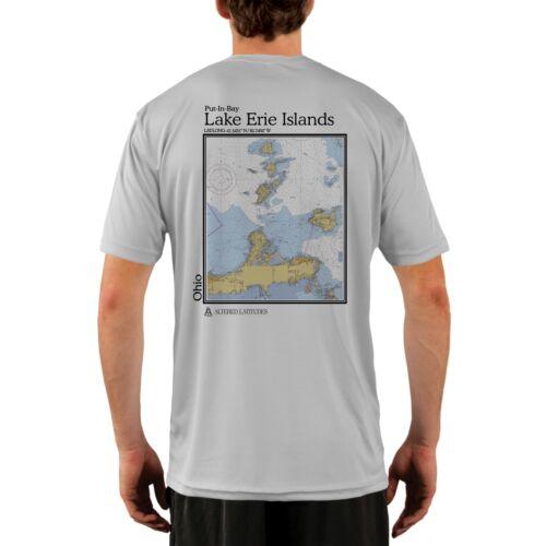 Lake Erie Islands Chart Men/'s UPF 50 UV//Sun Protection Short Sleeve T-Shirt