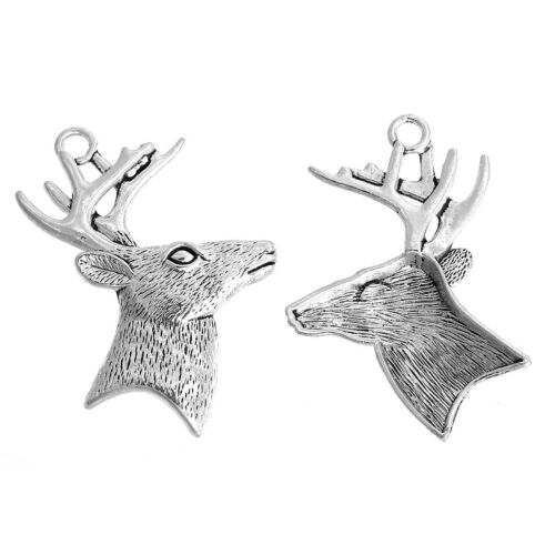 14A 5 LARGE SILVER CHRISTMAS REINDEER//STAGS HEAD CHARM~PENDANT~60mm~Keyring