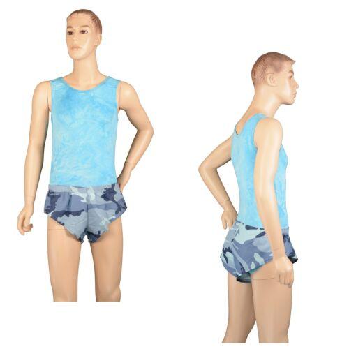 Mens Blue Camouflage Camo Booty Shorts Sprinter Gym Swim Made in Australia