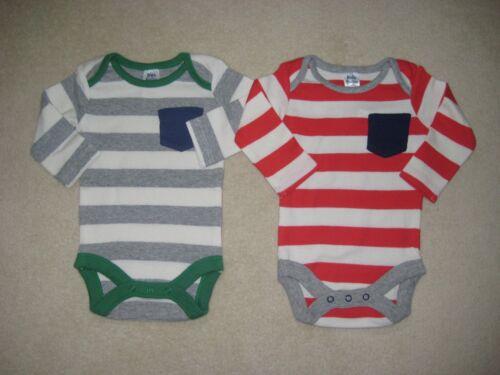 New 2 x ex Baby Boden Bodysuit vest jersey breton stripe top