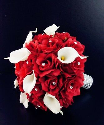 """10"""" Wedding Bouquet - Red/Holiday Red Roses with White Calla Lilies - Artificial"""