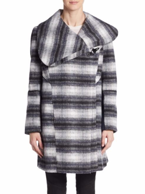Sam Edelman Women's Knit Plaid Wrap Coat Striped Wool Blend Size Large NWT