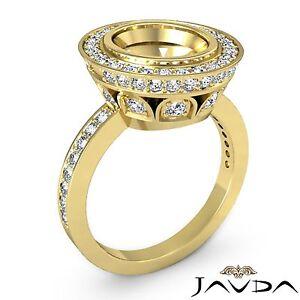 Semi Mount 1.25Ct Oval Diamond Engagement Halo Bezel Set Ring 14k Yellow Gold