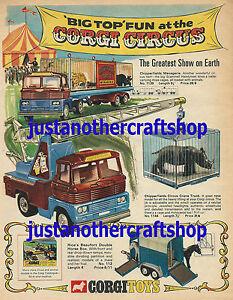 Corgi-Toys-1969-chipperfields-Circo-1139-1144-Gran-Cartel-Anuncio-signo-Folleto