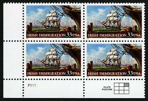 #3286 33c Irlandés Inmigración, Placa Bloque [P1111 Ll ] Nuevo Cualquier 4=