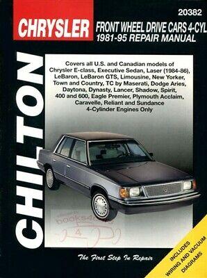 Chilton Workshop Manual Laser LeBaron Lancer Acclaim TC Aries 1981-1995 Service